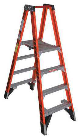 WERNER Twin Platform Stepladder,4 ft,FGL,300 lb PT7404