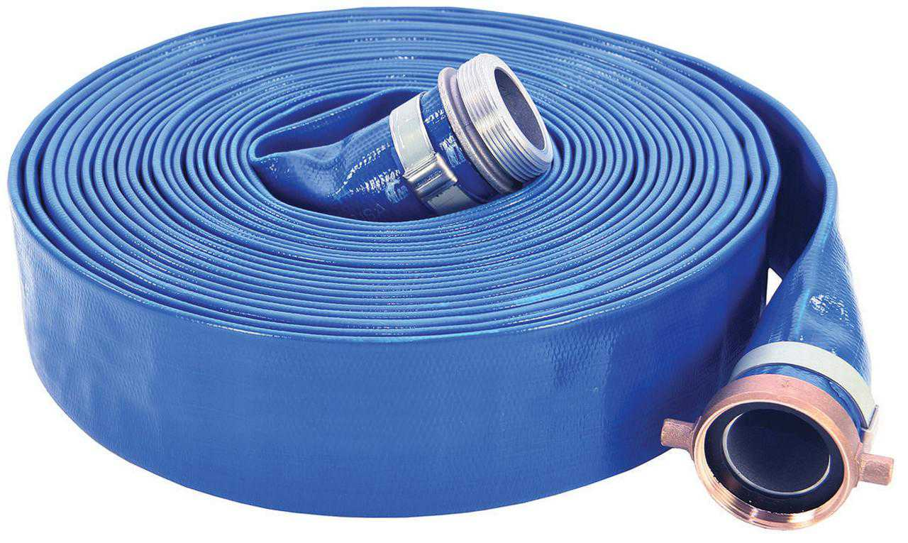 UDP 1147-2000-50 Lay-Flat Discharge Hose Assembly, 2 in, 50 ft, Threaded Male x Female Coupling, 80