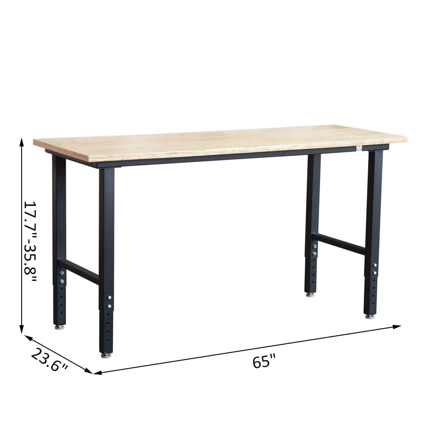 GHP 330-Lbs Capacity Steel Frame Natural Wood Top Adjustable Height Workshop Bench