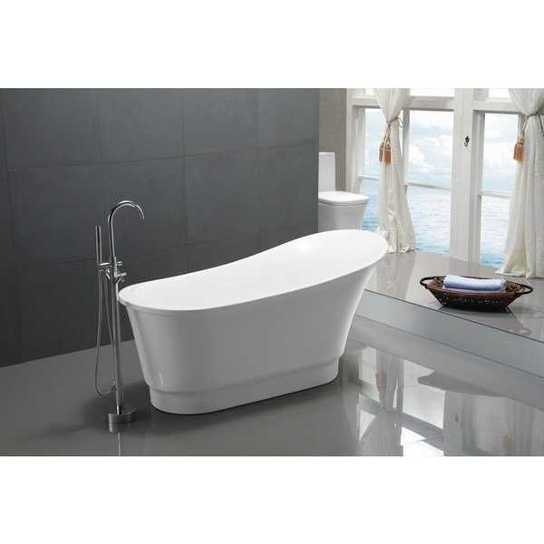ANZZI Prima Series 5.58 ft. Freestanding Bathtub in White