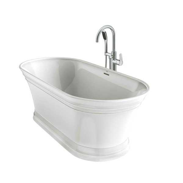Jacuzzi LYB6731BCXXXX Lyndsay 67' Free Standing Soaking Bathtub with NW50827 Tub Filler Faucet and Center Drain