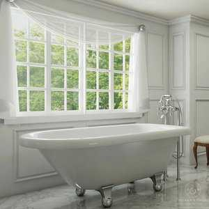 Pelham & White Luxury 54 Inch Clawfoot Tub with Chrome Cannonball Feet