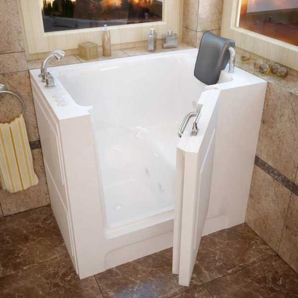 MediTub 27x39-inch Left Drain White Whirlpool Jetted Walk-In Bathtub