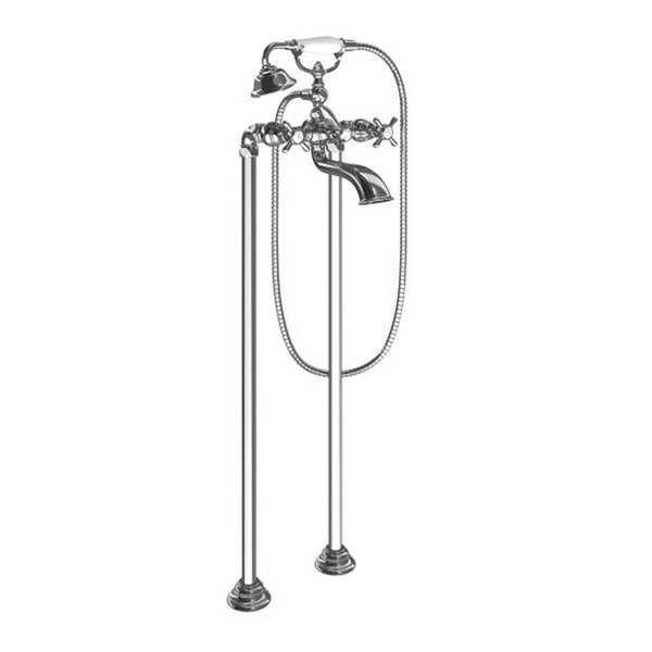Moen Weymouth Wall Mounted Clawfoot Tub Filler with Built-In Diverter, Cross Handles, and Hand Shower Chrome