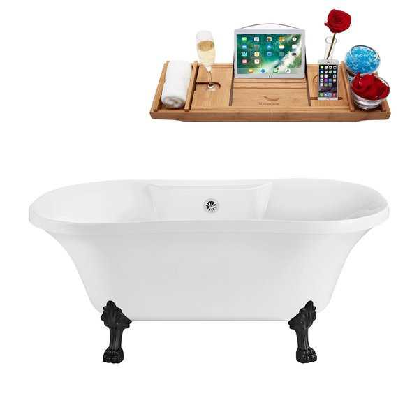 60' Streamline N100BL-CH Soaking Clawfoot Tub and Tray With External Drain