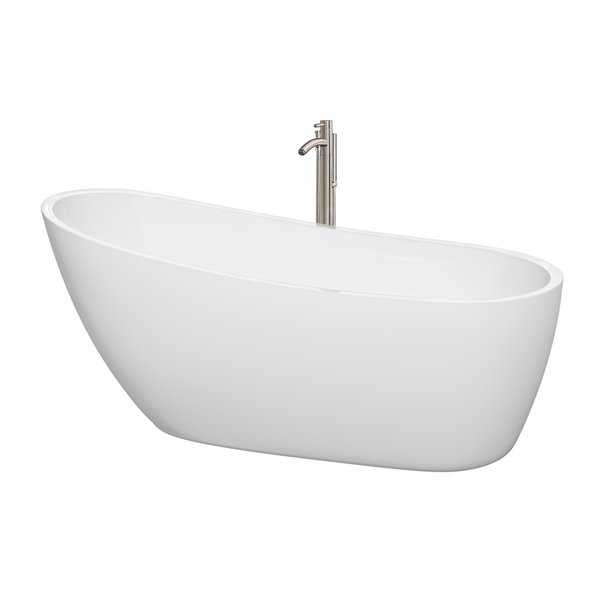 Wyndham Collection Florence 68-inch Freestanding Soaking White Bathtub