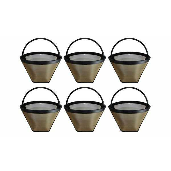 6pk Replacement #4 Gold Tone Coffee Filter, Fits Cuisinart, Braun, GE, Jerdon, Krups, Melitta & More, Washable & Reusabl